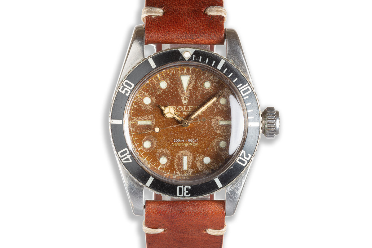 """1958 Vintage Rolex Submariner 6538 """"Big Crown"""" Gilt Chapter Ring Swiss Only Tropical Dial photo, #0"""
