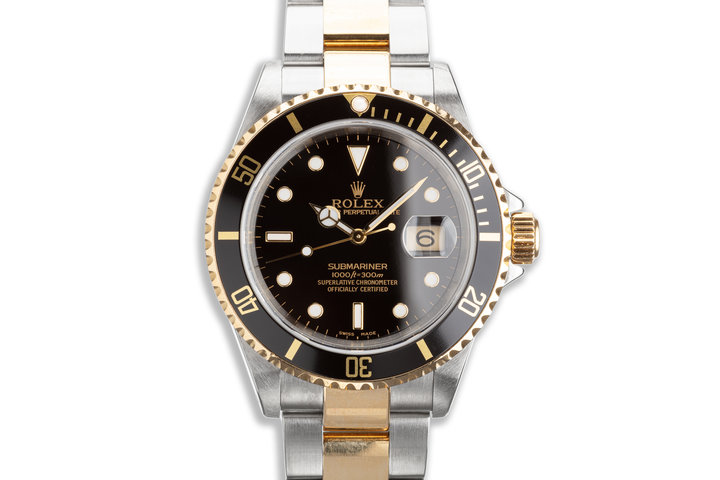 2002 Rolex Two-tone Submariner 16613 Black Dial with Box & Papers photo