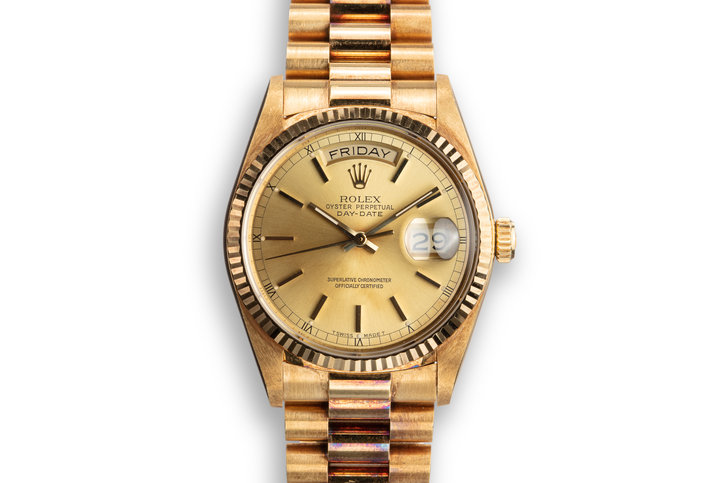 1987 Rolex 18K YG Day-Date 18038 Champagne Dial photo