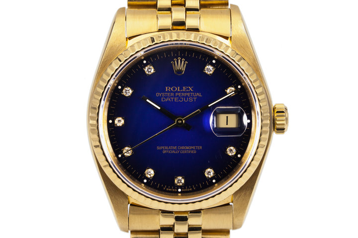 1982 Rolex YG Datejust 16018 Factory Diamond Blue Vignette Dial photo