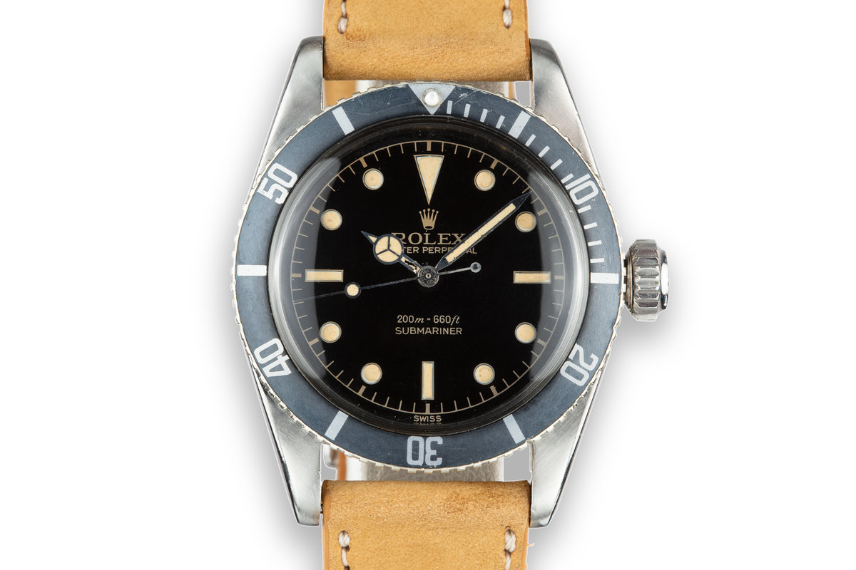 "1958 Rolex Submariner 5510 Big Crown with Rare ""SWISS"" Only Gilt Tritium Dial and Service Papers photo, #0"