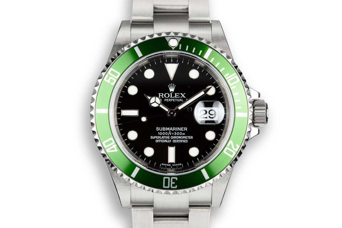 2006 Rolex Anniversary Green Submariner 16610LV with Box and Papers photo, #0