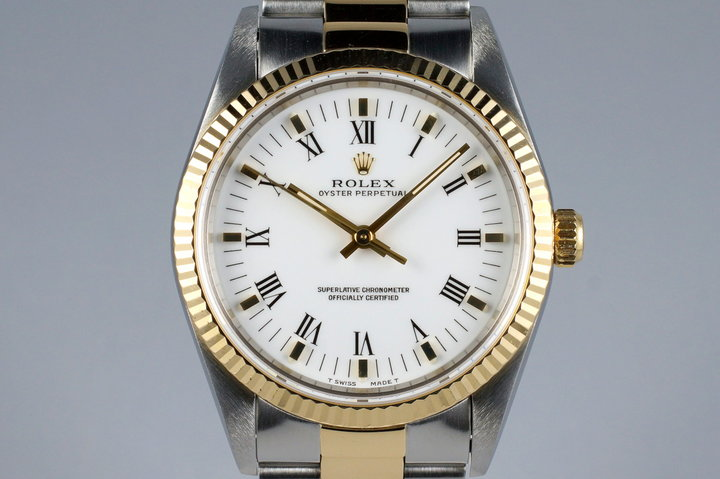1994 Rolex Two Tone Oyster Perpetual 14233 White Roman Dial photo