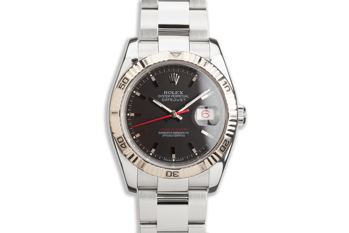 2005 Rolex Red DateJust Turn-O-Graph 116264 Black Dial photo