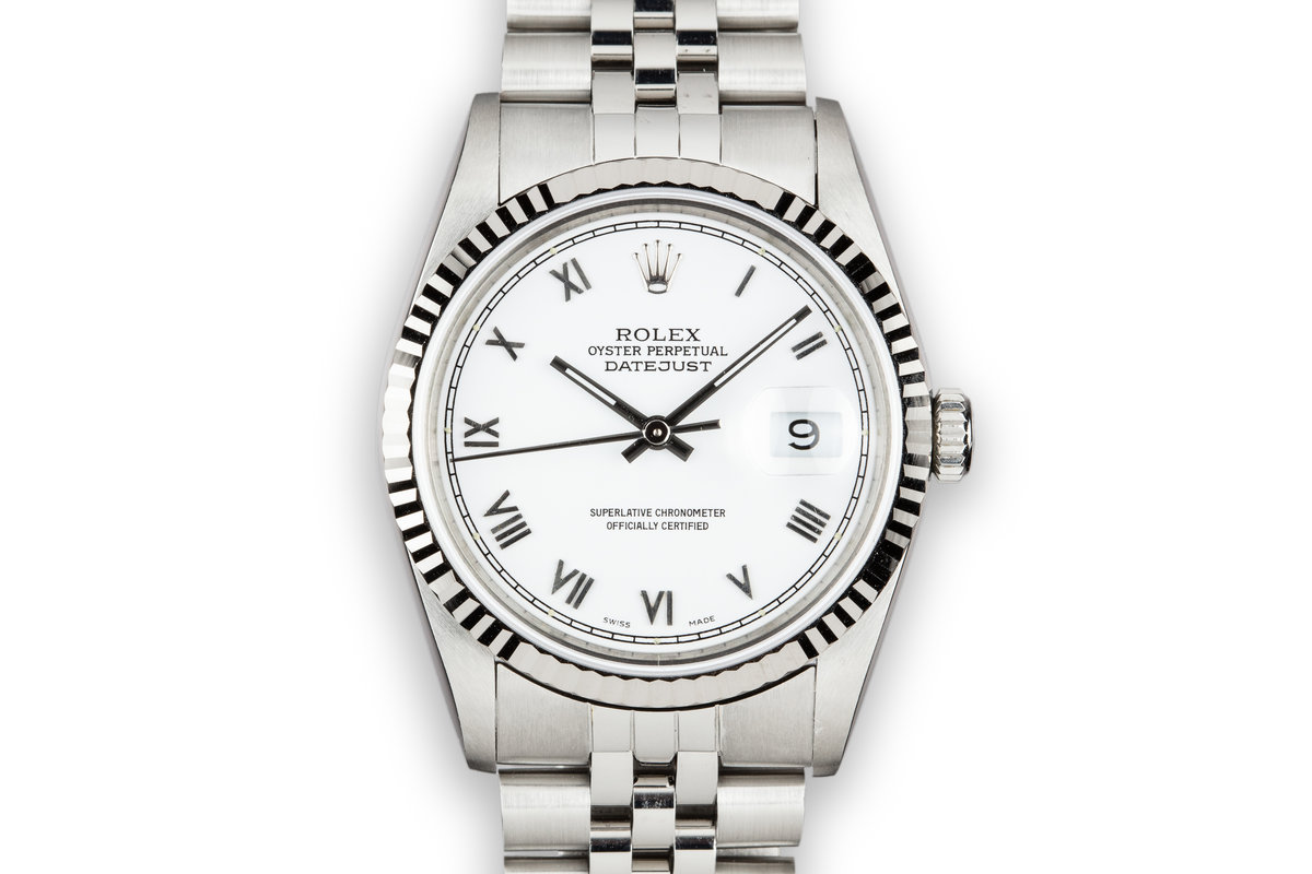 1990 Rolex DateJust 16234 with White Roman Dial photo, #0