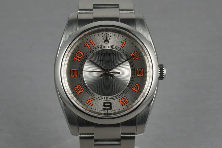 2006 Rolex Air-King M serial 114200 Silver Concentric and Orange Dial photo