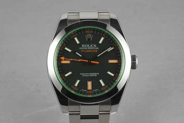 Rolex Milgauss Green V Serial 116400 GV with Box and Papers photo