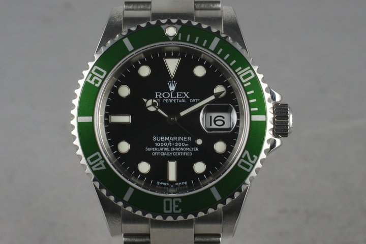 2005 Rolex Green Submariner 16610 with Box and Papers photo
