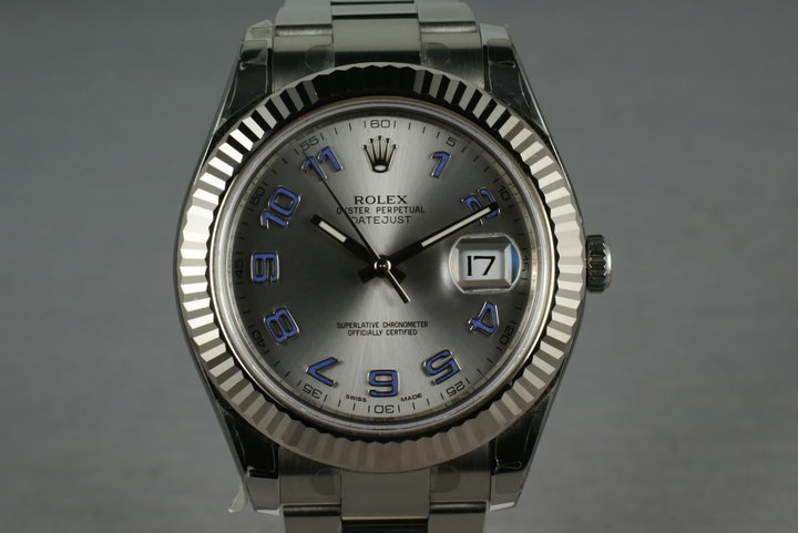 Rolex Datejust II 116334 with RHODIUM and BLUE ARABIC dial MINT photo