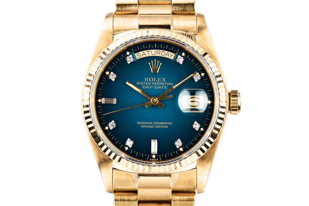 1985 Rolex 18K YG Day-Date 18038A with Factory Diamond Blue Vignette Dial photo, #0