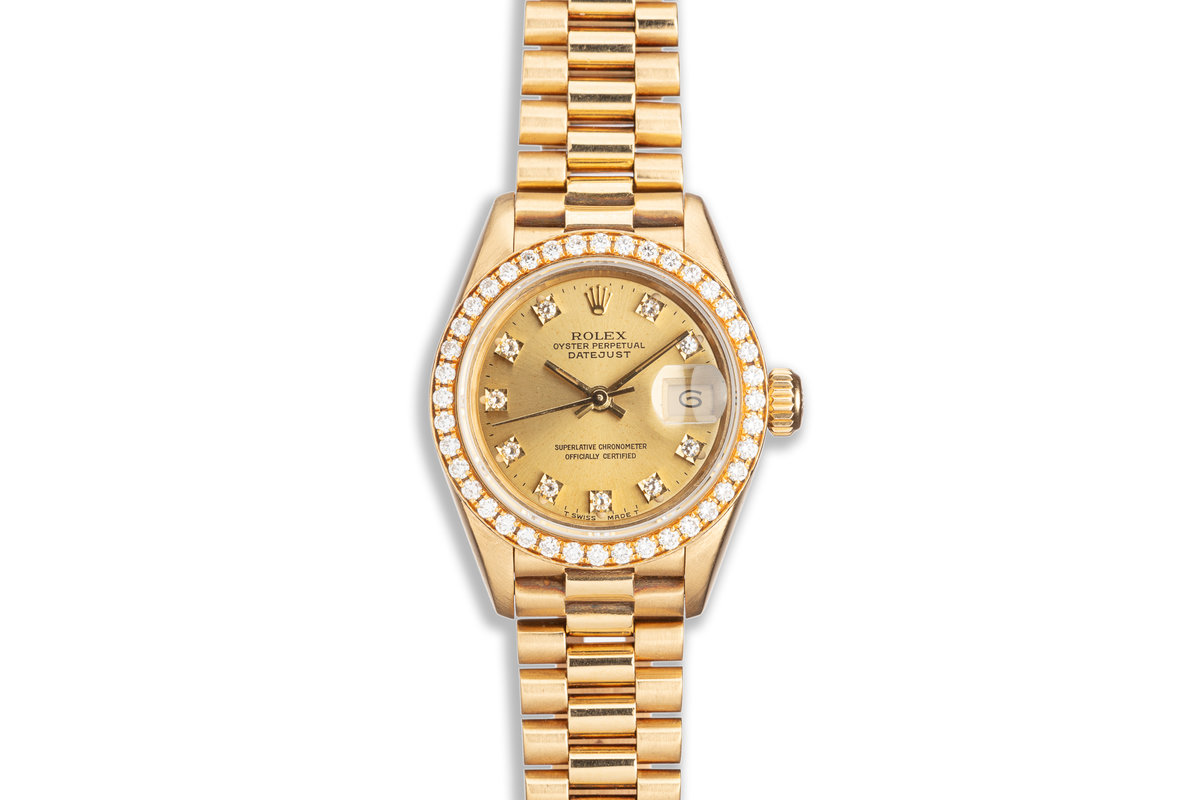 1990 Rolex Ladies President 69138 with Factory Diamond Bezel & Dial photo, #0