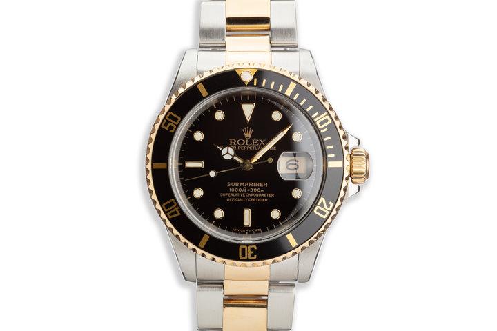 1991 Rolex 18K & St Submariner 16613 Black Dial photo