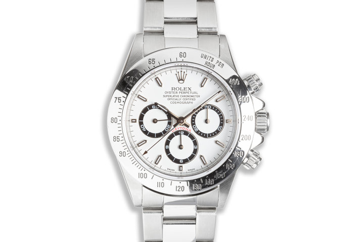 1993 Rolex Zenith Daytona 16520 White Service Dial with Service Papers & Box photo