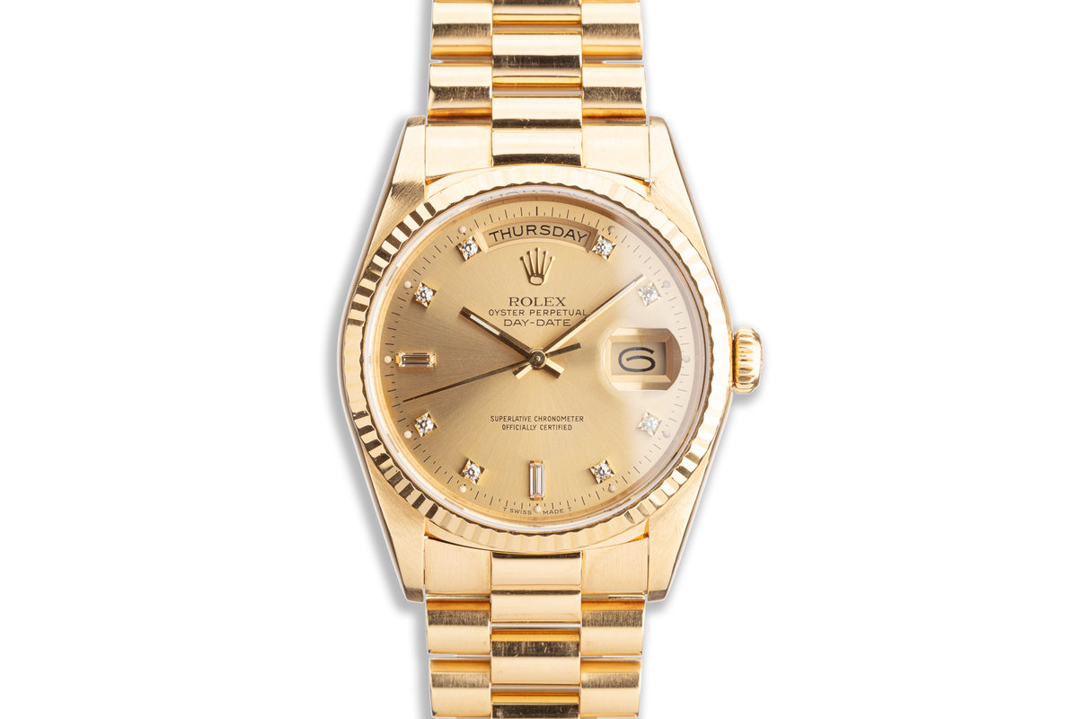 1989 Rolex 18K YG Day-Date 18238 with Champagne Diamond Marker Dial photo, #0