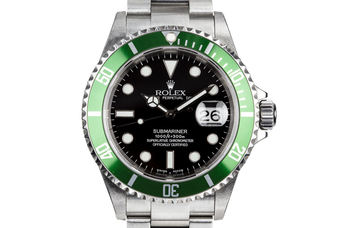 2003 Rolex Green Submariner 16610V Mark 1 Dial with Box and Papers photo, #0
