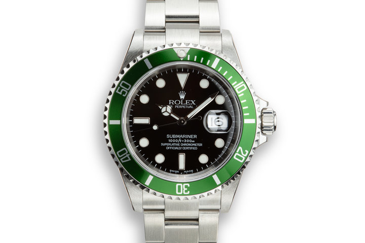 Mint 2003 Rolex Anniversary Green Submariner 16610LV with Box and Papers,Flat 4 Bezel, and Protective Stickers photo