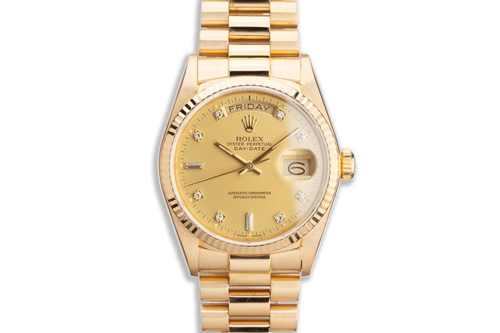 1986 Rolex 18K YG Day-Date 18038 with Matte Gold Diamond Dial photo