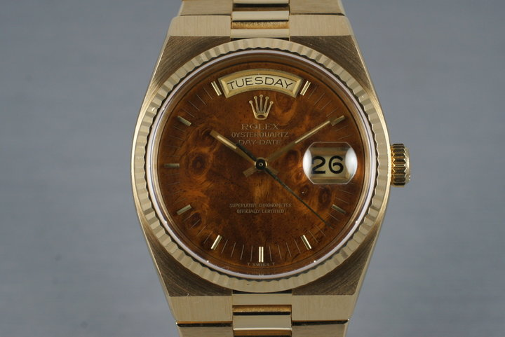 1980 YG OysterQuartz Day-Date 19018 Wood Dial with Box and Papers photo