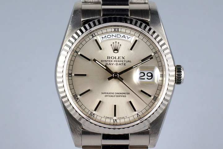 1991 Rolex WG Day-Date 18239 Silver Dial with Box and Papers photo