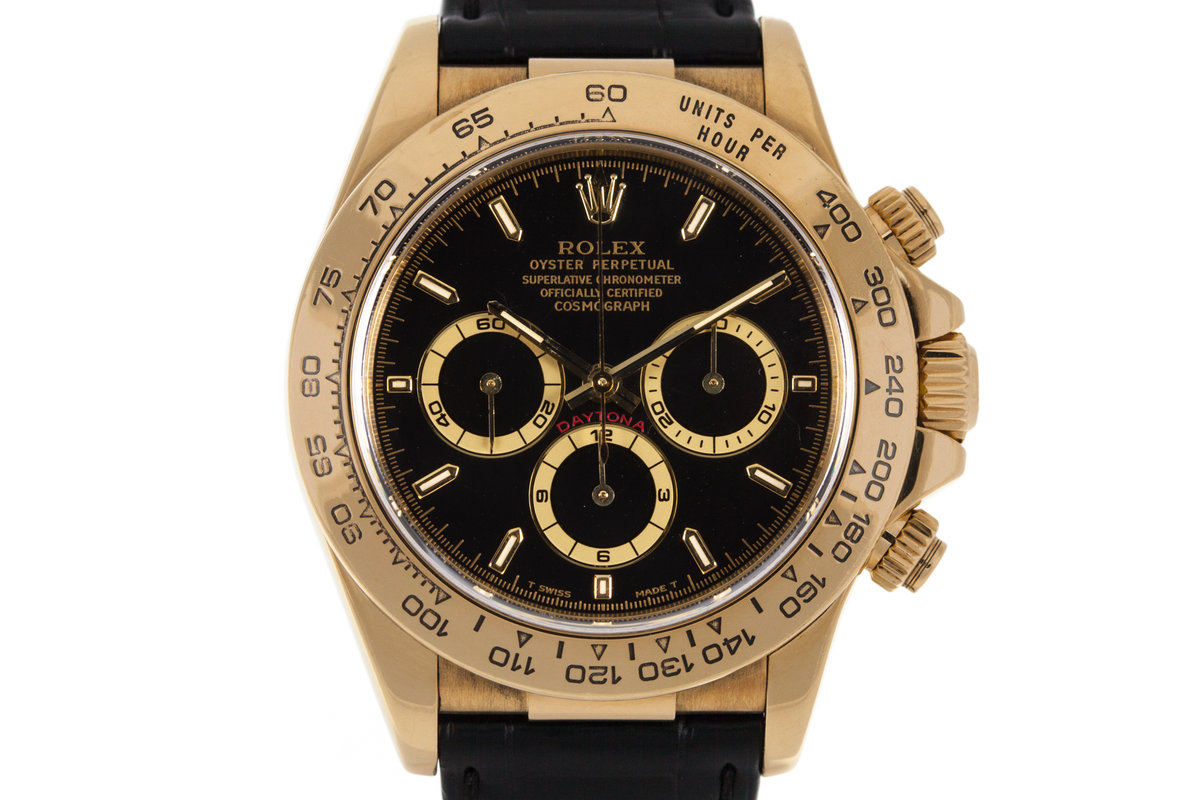 1999 Rolex YG Zenith Daytona 16518 Black Dial photo, #0