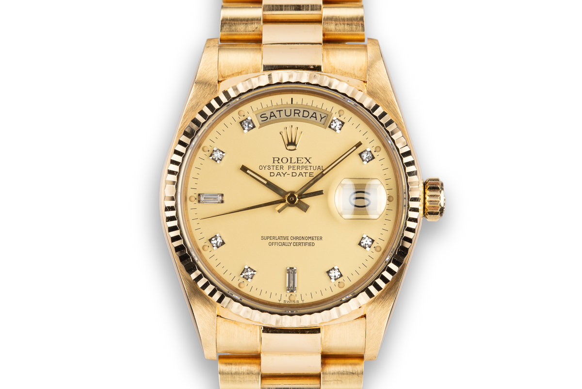 1985 Rolex 18K YG Day-Date 18038 with Matte Champagne Diamond Dial photo, #0
