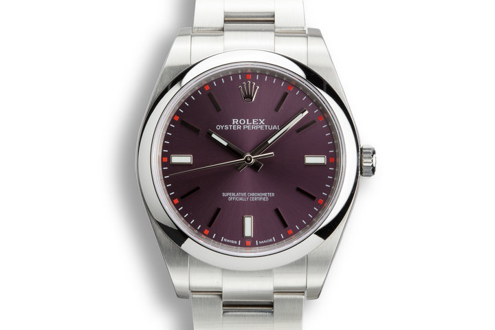 "Rolex Oyster Perpetual 114300 Purple ""Grape"" Dial with Box and Papers photo"