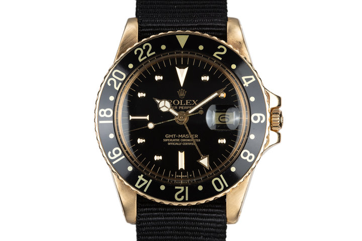 1979 Rolex 18K YG GMT-Master with Black Nipple Dial photo