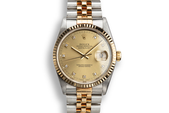 1993 Rolex Two-Tone DateJust 16233 Champagne Diamond Dial with Papers photo