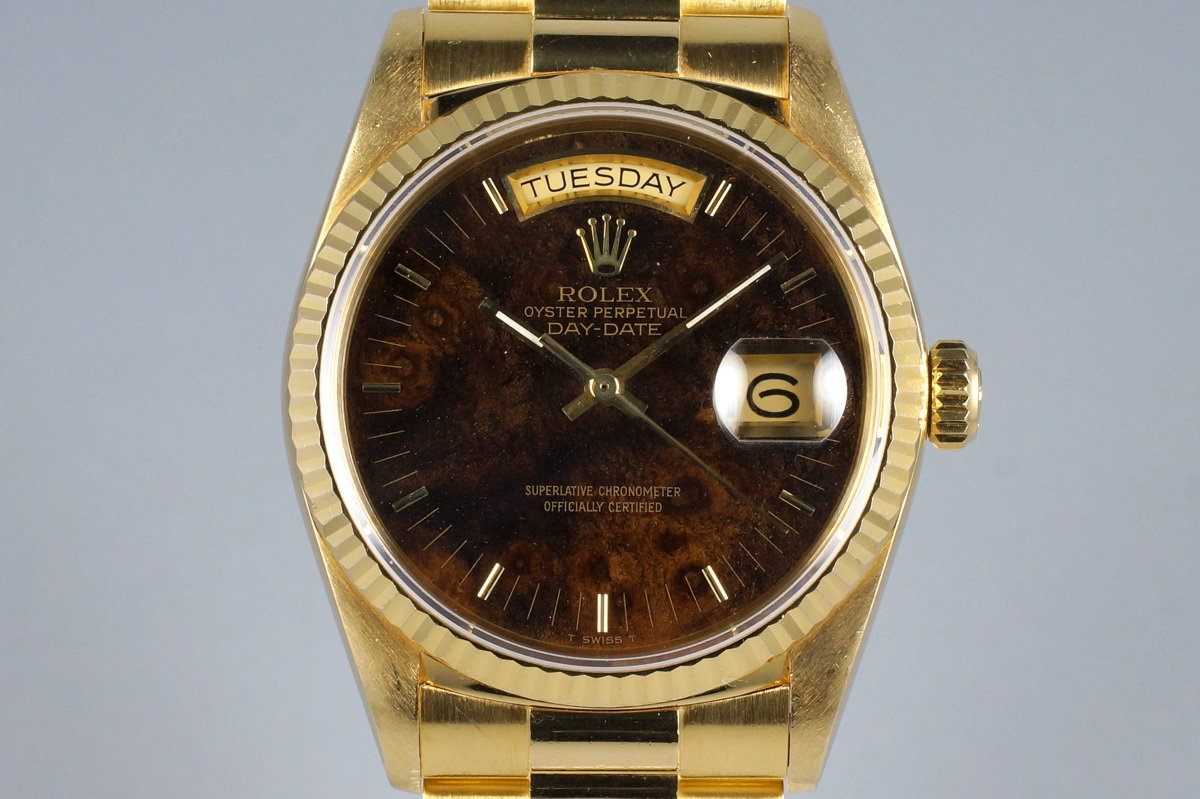 1988 YG Day-Date 18038 Burled Wood Dial photo, #0