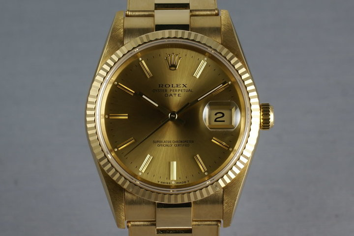 Rolex 18K Date Ref: 15238 on gold rivet bracelet photo