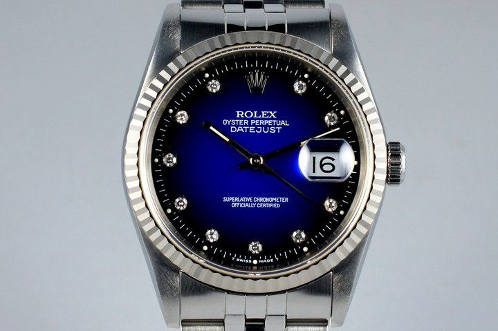 1991 Rolex DateJust 16234 with Factory Blue Vignette Diamond Dial photo
