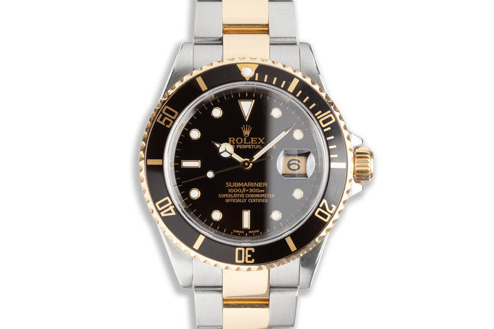 2002 Rolex 18k & Stainless Submariner 16613 Black Dial with Box & Papers photo