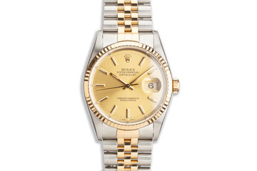1991 Rolex Two-Tone DateJust 16233 Champagne Dial Box & Papers photo