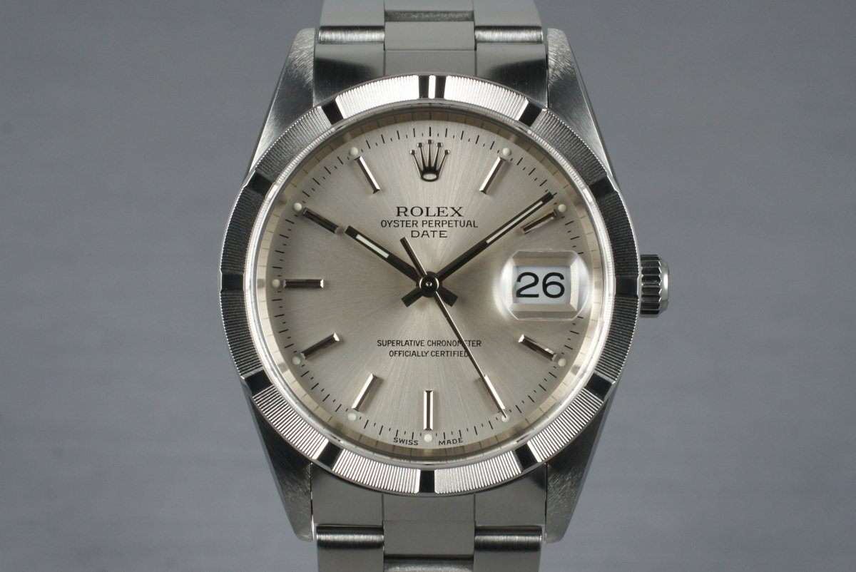 2001 Rolex Silver Dial Date 15210 with Box & Papers photo, #0