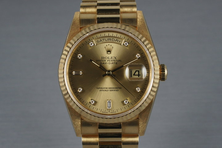 1995 Rolex YG Day-Date 18238 with Diamond Dial photo