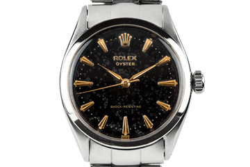 1957 Rolex Oyster 6480 SWISS Only Black Gilt Dial photo