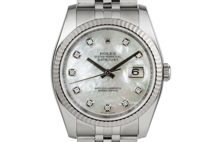 2006 Rolex Datejust 116234 with Mother of Pearl Diamond Dial with Box and Papers photo