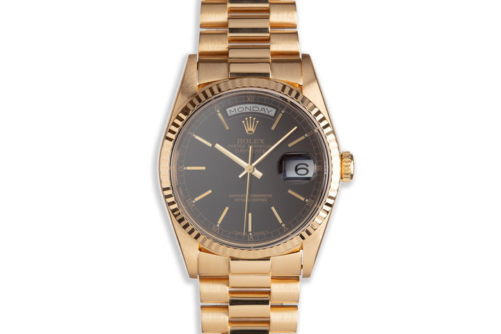 1996 Rolex 18K YG Day-Date 18238 Black Dial photo